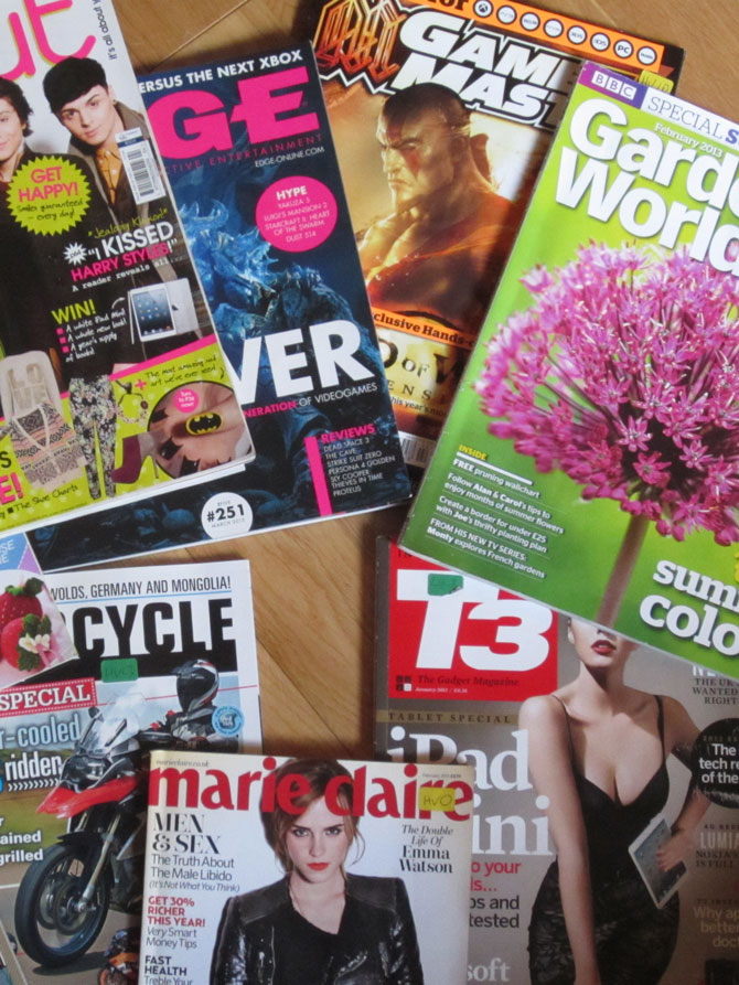 Magazines read by library users
